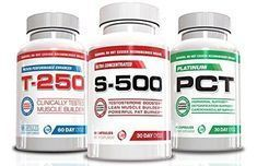 Muscle Builder Stack Supplements-Testosterone Booster for Men, Fat Burner, Nitric Oxide Supplement,S-500,T-250 and Platinum PCT, 3 Bottles Muscle Stack, 30 day Supply, Ultimate Shredded Stack, Muscle Builder, Lose Your Gut, Full Body Muscle Supplements, (Value Pack)
