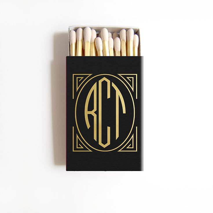 A perfect Art Deco favor for your Great Gatsby themed wedding. Our monogrammed matchbox wedding favors are personalized and beautifully foil stamped with the bride and groom's names and wedding date and wedding location.     - Matchboxes are 2.22' w x 1.375' l x .46' h and come with approximately 22 match sticks. - 1 digital proof included