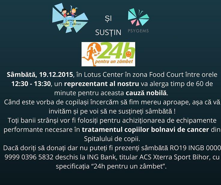 Vă așteptăm sâmbătă să ne susțineți între orele 12:30 - 13:30 la Lotus Center în zona Food Court (unde sunt scările rulante)!