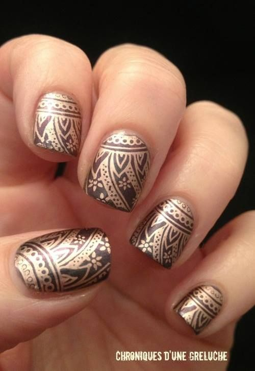 Black and gold stamped #nails #nail #art #mani #manicure