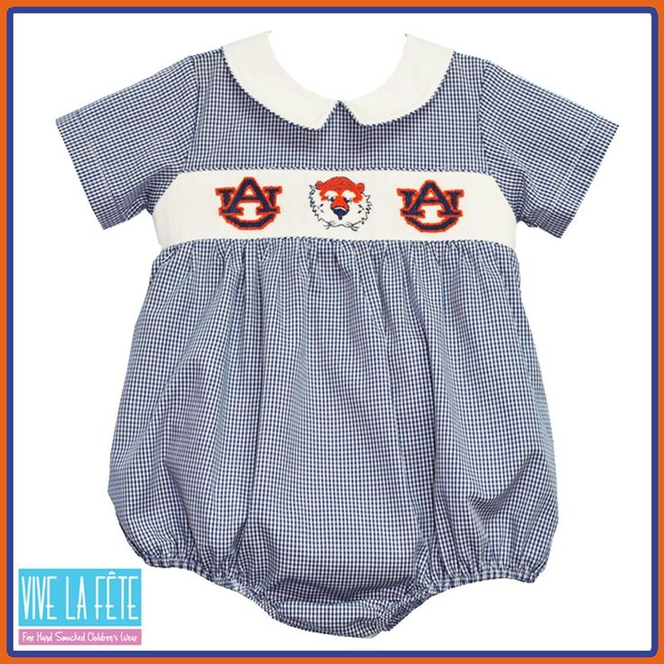 Auburn Tiger Hand Smocked And Embroidered Kids Clothing