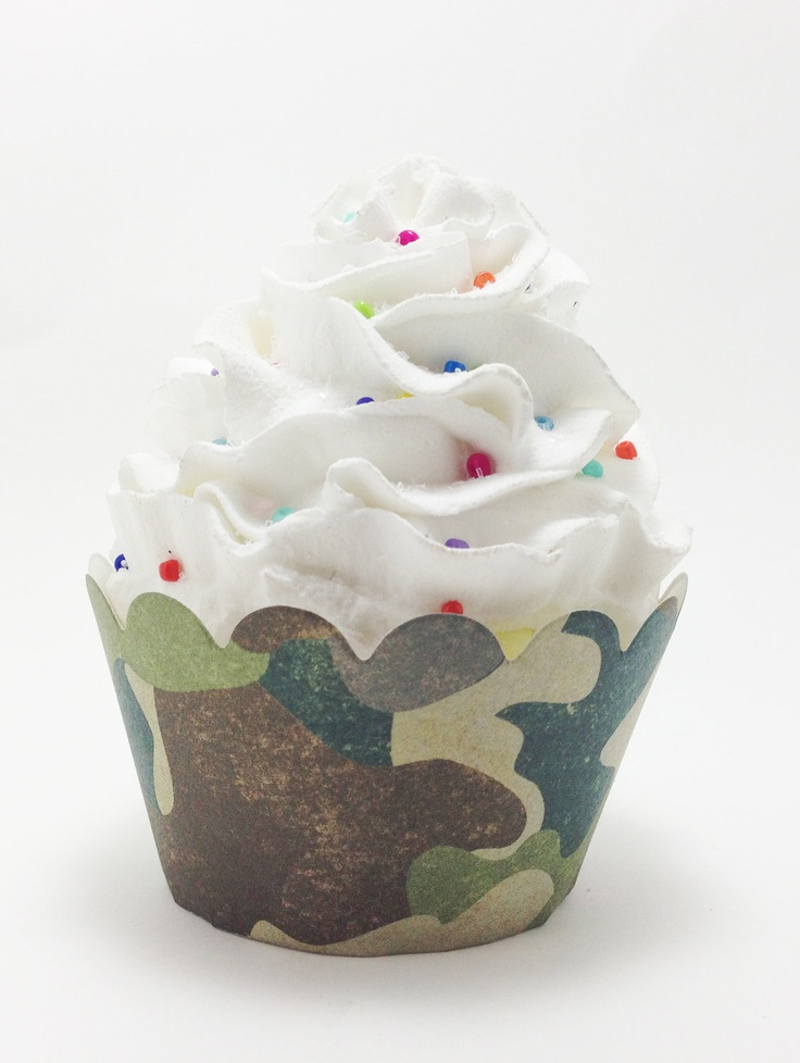 Army Military Hunting Camouflage Cupcake by PrettySweetParty, $6.99