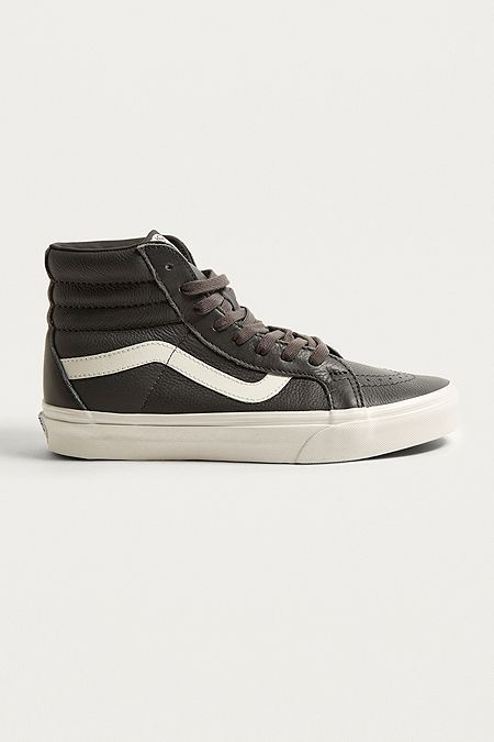 3892d3800 Vans Sk8-Hi Dark Grey Leather Trainers | shoes | Leather trainers ...