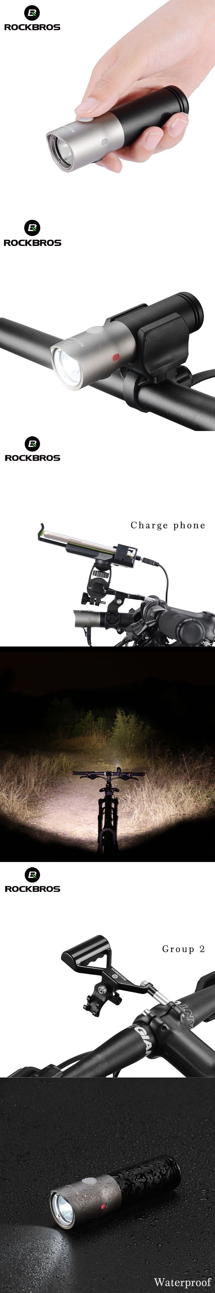 ROCKBROS 1000 Lumen Bike Bicycle Light Waterproof IPX6 USB Rechargeable 18650 3000 mAh Power LED Bank Flashlight MTB Accessories