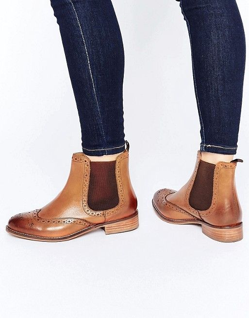 Dune Wide Fit | Dune Wide Fit Quenton Tan Leather Brogue Chelsea Boots