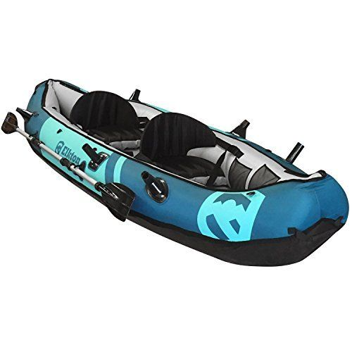Elkton Outdoors 10' Foot Inflatable Tear Resistant Fishing Kayak With Double Sided Oars, Rod Holders, Foot Pump & Repair Kit  INFLATES QUICKLY- The Elkton Outdoors Kayak inflates in only minutes from its compact storage size to a full size kayak! When fully inflated the dimensions of the kayak are (118in. x 35in x 16in) making kayak fishing more convenient than ever!  RUGGED & DURABLE- Elkton Outdoors fishing kayak is constructed with 18-Gauge rip resistant 1000D PVC making it tear and HOOK…