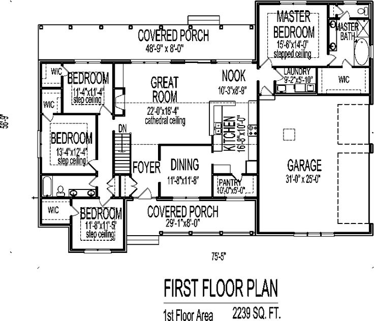 83 best images about house plans on pinterest craftsman Double wide floor plans with basement