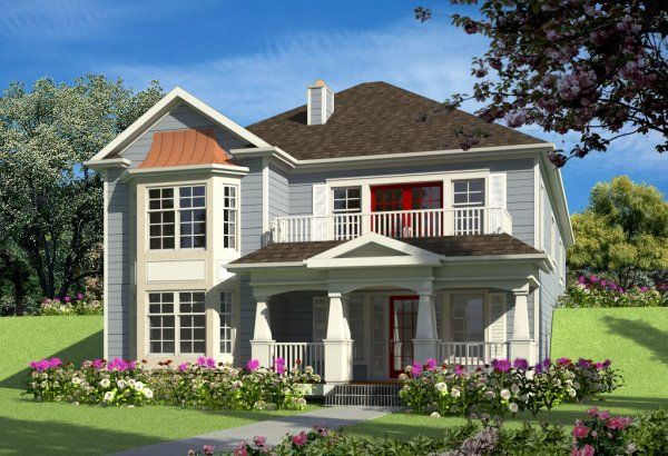 Plan No. 571030 - This versatile basement entry or hillside rancher style house plan offers curb appeal on both front and rear elevations, perfect for a hillside lot with exposure to two streets.