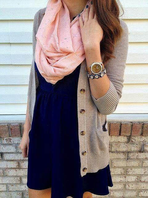 dress, cardigan, scarf