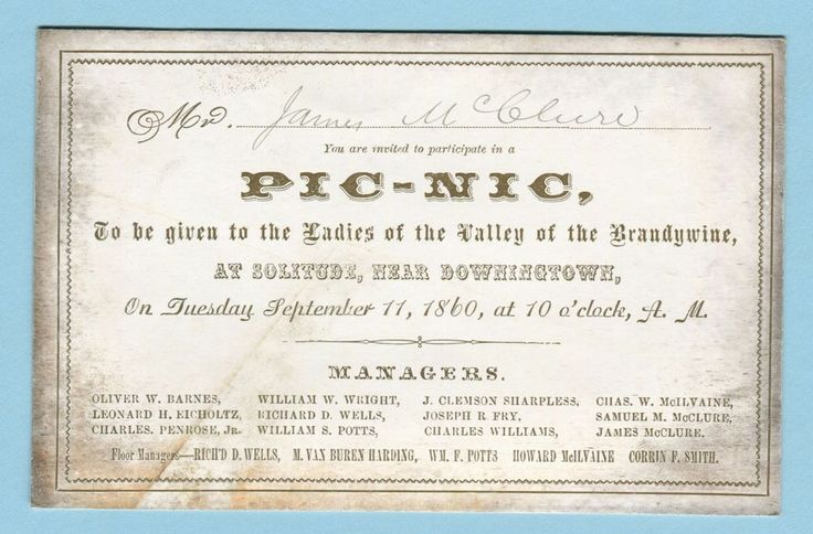 1860 DOWNINGTOWN PA Pic-Nic Invitation LADIES OF BRANDYWINE VALLEY Coated Stock