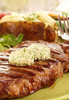 Grilled Strip Loin Steak with Shallot Herb Butter