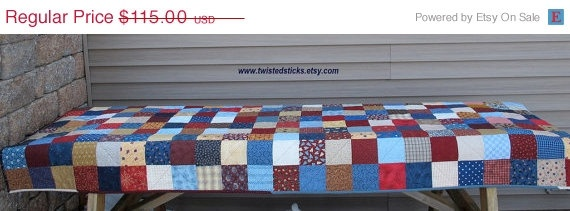 Spring Sale Patchwork Picnic Tablecloth Quilted by twistedsticks, $97.75: Picnics Quilts, Tablecloths Quilts, Quiltsy Team, Scrappy Quilts, Picnic Quilt, Quilts Tablecloths