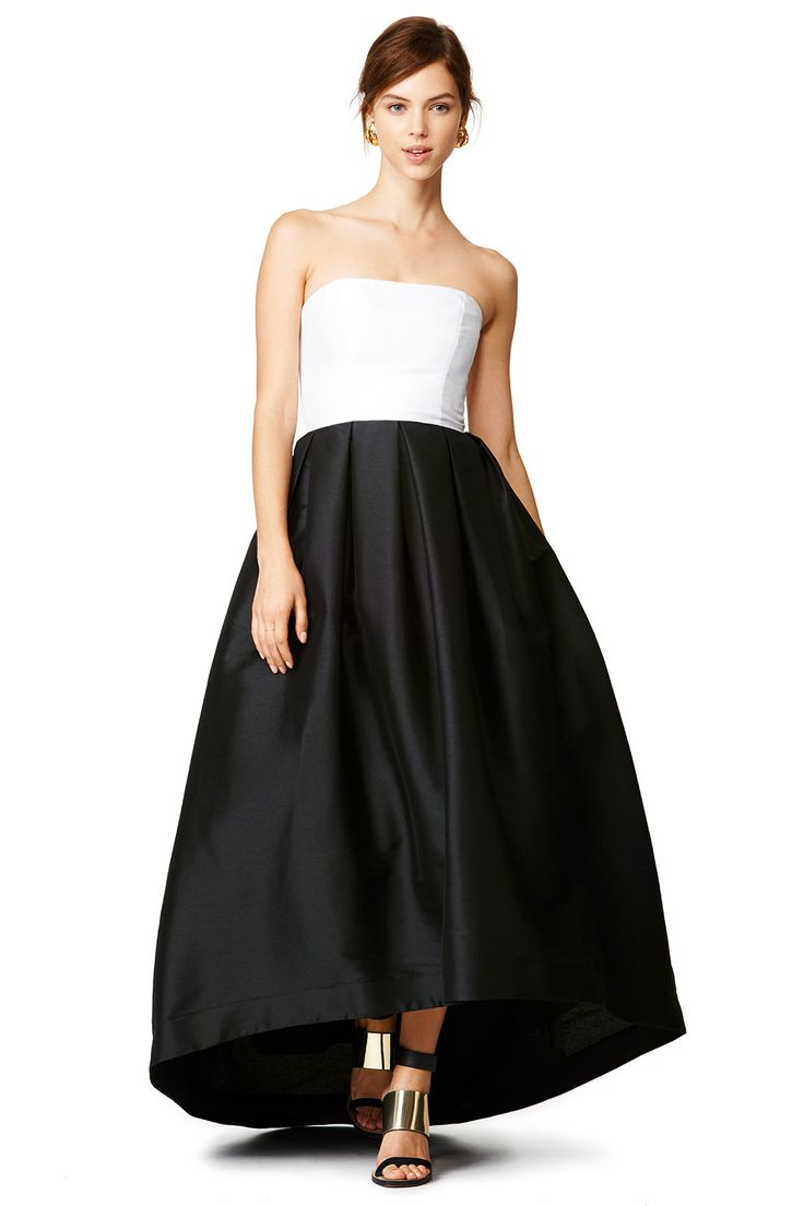 Black and white gown with hi low hem and strapless top // Olivia Gown by Monique Lhuillier