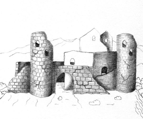 Ruina unui castel - cum se deseneaza, desen pas cu pas.