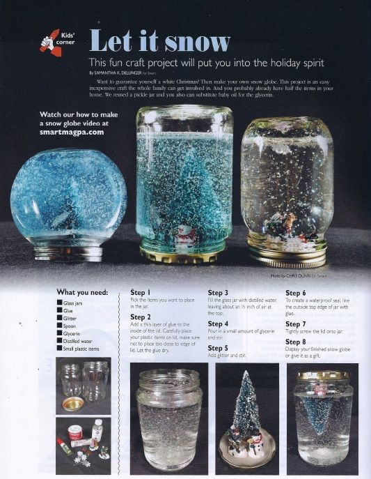 Want to Let it Snow? Make this DIY snow globe with your family.