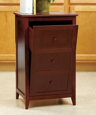 Walnut Kitchen Wooden Trash Can Cabinet Tilt Out Garbage Bin Furniture Storage
