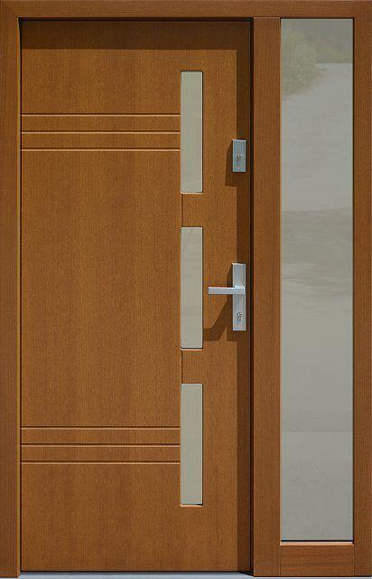Drzwi zewnętrzne ze stałą dostawką doświetlem bocznym model 470,2 w kolorze złoty dąb