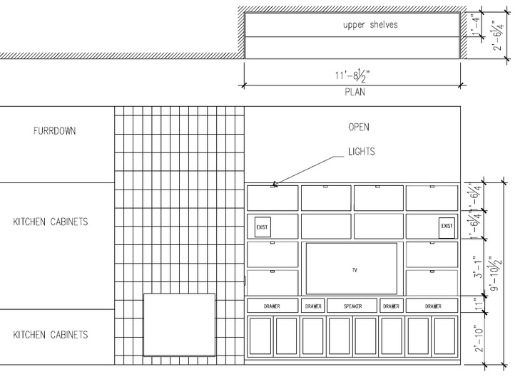 Basic Plans For Large, Contemporary Entertainment Center With Inset Doors U0026  Drawers. For Townhouse In Rice Military Area (drawing By Irini Kotelou)