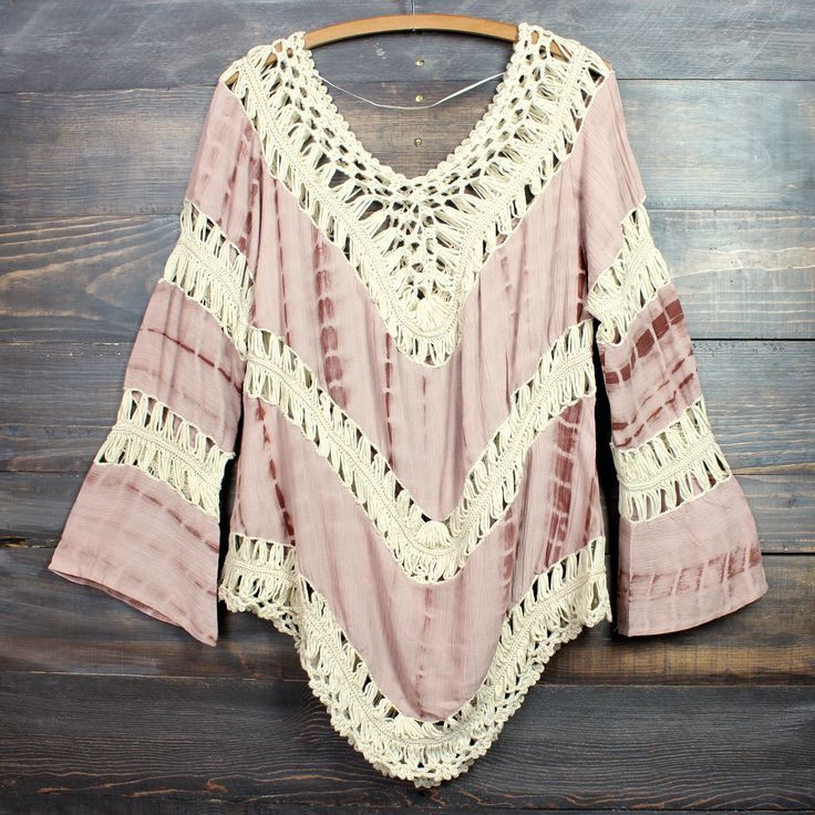 Boho crochet gauze tunic in muted mauve tie dye