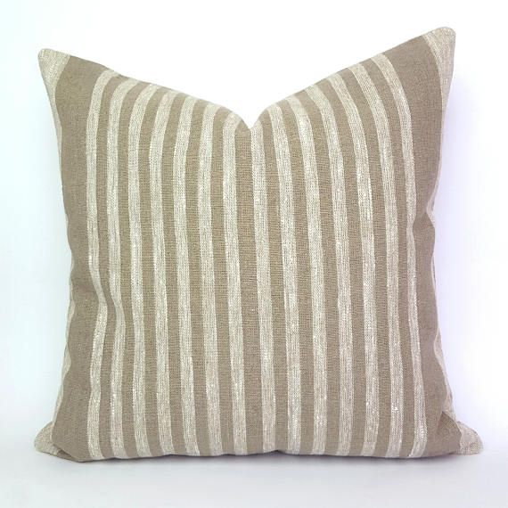 Ivory and Taupe Linen Pillow Cover Natural Linen Pillow Case