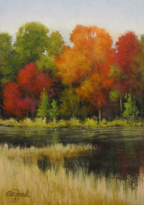 "$40 + free shipping.  ©2013 Paula Ann Ford, Autumn at Fly Pond, 7""x5"", soft pastels on Ampersand Pastelbord."