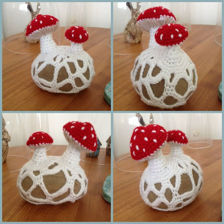 Toadstool doorstop. Here's a link to a pattern, but it's not in English so I just made it up because I like the idea.  If you can sc, increase and decrease, you can make this easy peasy. Just nip out and find a big smooth stone. Crochet mushroom