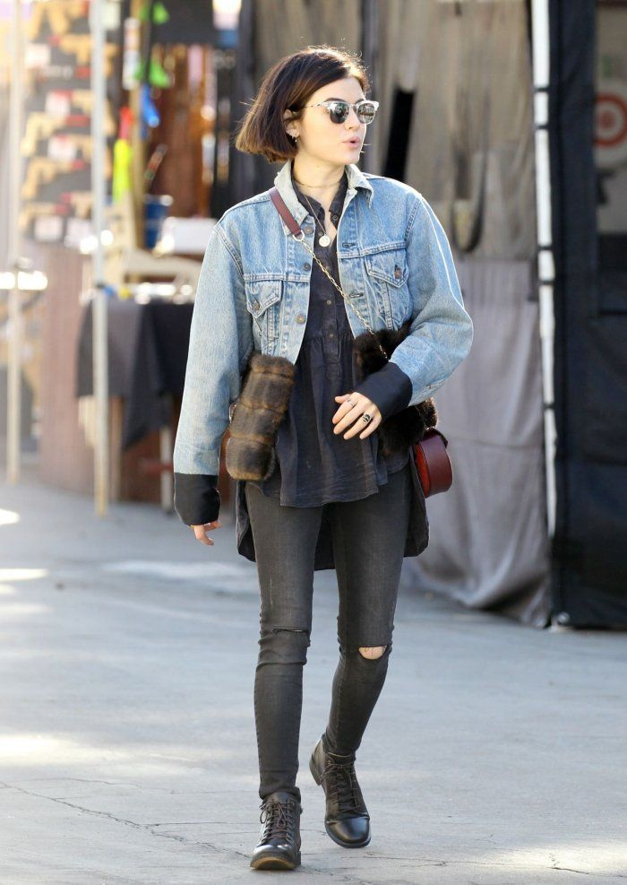Lucy Hale Donning a Double Denim Outfit - https://denimology.com/2017/02/lucy-hale-donning-a-double-denim-outfit