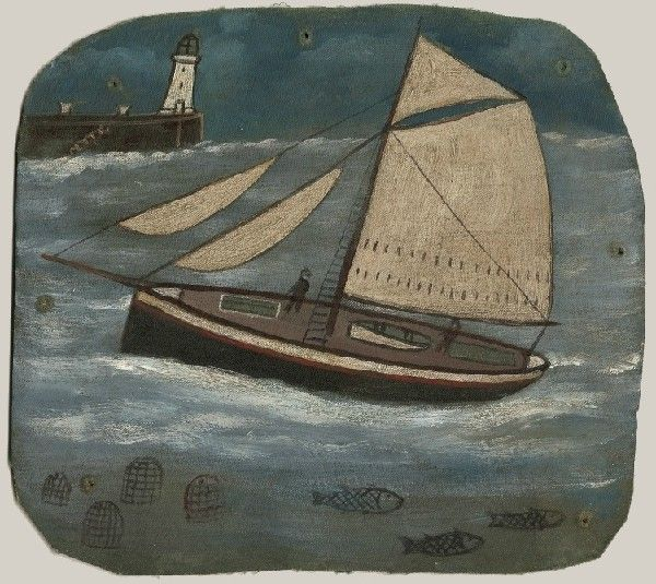 Ship by Alfred Wallis.  St Ives primitive painter (Born in Plymouth, his work heavily influenced that of Ben Nicholson and Christopher Wood when they discovered it).