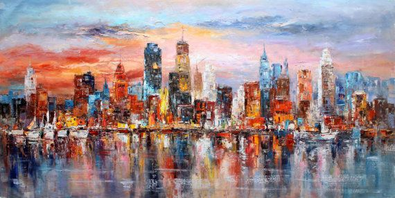 30x60 BROOKLYN New York Painting Colorful Modern by LuigiPaulini