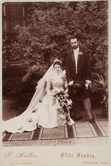 A black and white photo of Lilian Faithfull and William Hugh Anderson at Springfield homestead on their wedding day.