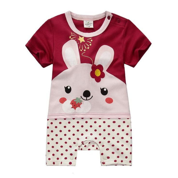Jumping beans summer cotton kids baby girl infant short sleeve boxer rompers jumpsuits dotted bodysuit rabbit