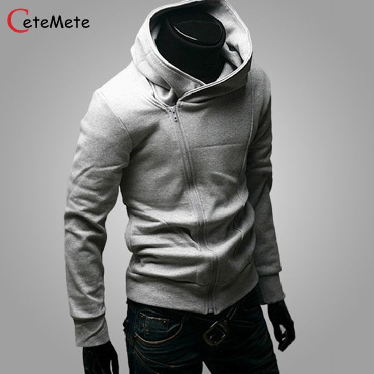 Fashion UK style asymmetric inclined zipper design hooded sweatshirts pure  color full sleeve slim fit casual hoodies for men