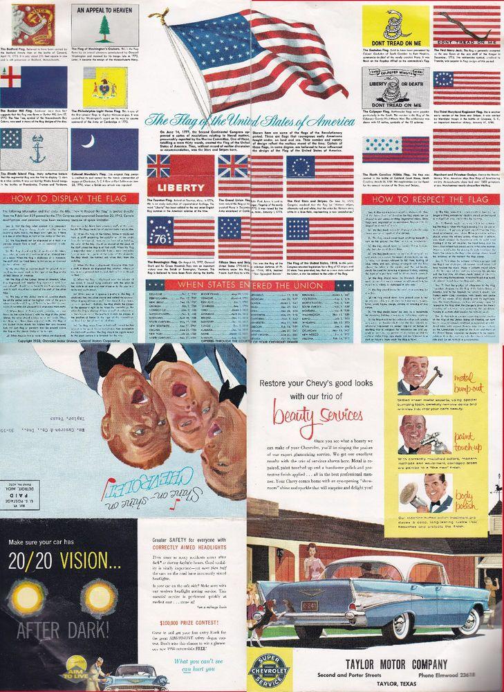 ODDBALL QUIRK 1958 CHEVROLET MAILER TAYLOR MOTOR CO TAYLOR TEXAS FLAG INFO  569