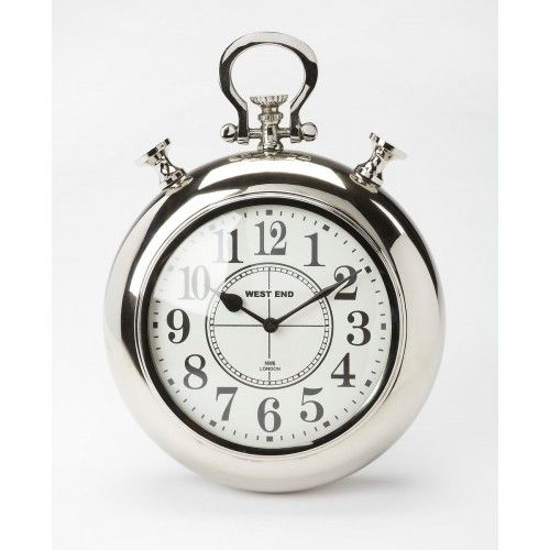 Chrome Pocket Watch Wall Clock Analog Numerals