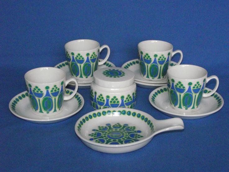 "Figgjo Fajanse 1960s Norwegian china, ""Granada "" pattern, cups, saucers & sugar pot"