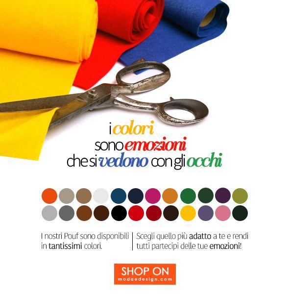Colore, tanto colore per la propria casa, a partire dai pouf. Perché il colore rende tutto più allegro e più piacevole, tinge di gioia la giornata e i momenti di riposo.