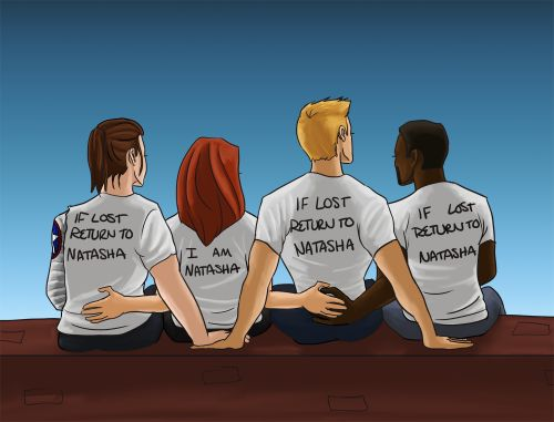 """[Image: Bucky Barnes, Natasha Romanoff, Steve Rogers, and Sam Wilson sitting with their backs to the viewer; Bucky, Steve, and Sam are wearing shirts that say """"if lost return to Natasha"""" and Natasha is wearing a shirt that says """"I am Natasha.""""]thewintertrash:this ot4 is very important to me honestly i was just planning on doing this with steve and bucky but then i was like """"let's be serious they would both get lost and sam would be dragged along somehow and natasha ..."""
