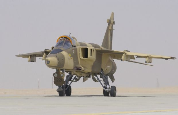 Royal Omani Air Force Sepecat Jaguar attack aircraft. Being retired finally after being introduced to service in the Sultanate in 1977. Indian Air Force now one of the last users of the type, and currently looking for replacement. Oman possesses 4 twin seaters and 20 single seaters.