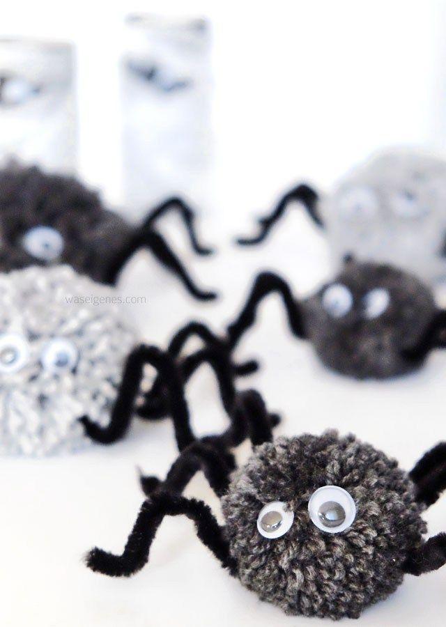 DIY Halloween Deko   Basteln mit Kindern   PomPom Spinne mit Wackelaugen und Beinen aus Pfeifenreiniger   Herbst 2016   waseigenes.com Blog