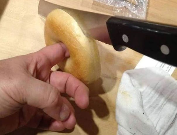 When Cutting Bagels In Half, Put Your Finger Through The Stabilization Hole To Keep It Steady