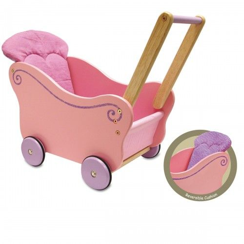 Children will enjoy hours of creative and imaginative play with this delightful dollies pram with a wooden carriage and removable, reversible cushion. In fashionable colours with shades of pink and lilac, this lovely wooden dolls pram is the perfect transport for any dolly or teddy. $78.00