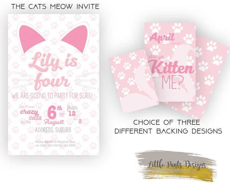 The Cats Meow Birthday Invite Series. Digital Invite Invitation for Birthday Pink Gold Cat paws  DIY Printable Pastel Girly Pretty by LittlePantsDesigns on Etsy https://www.etsy.com/listing/448847434/the-cats-meow-birthday-invite-series