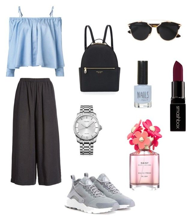 festival look by voicuandrada on Polyvore featuring Sandy Liang, Eskandar, NIKE, Henri Bendel, Calvin Klein, Christian Dior, Smashbox, Marc Jacobs and Topshop