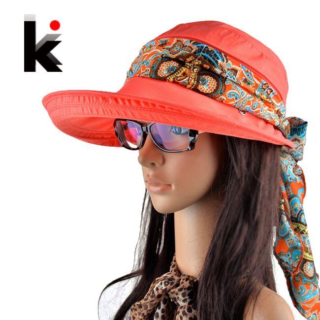Бесплатная доставка 2016 летние шляпы для женщин chapeu feminino новинка на открытом воздухе козырьки cap sun складной анти-уф hat 6 цветов