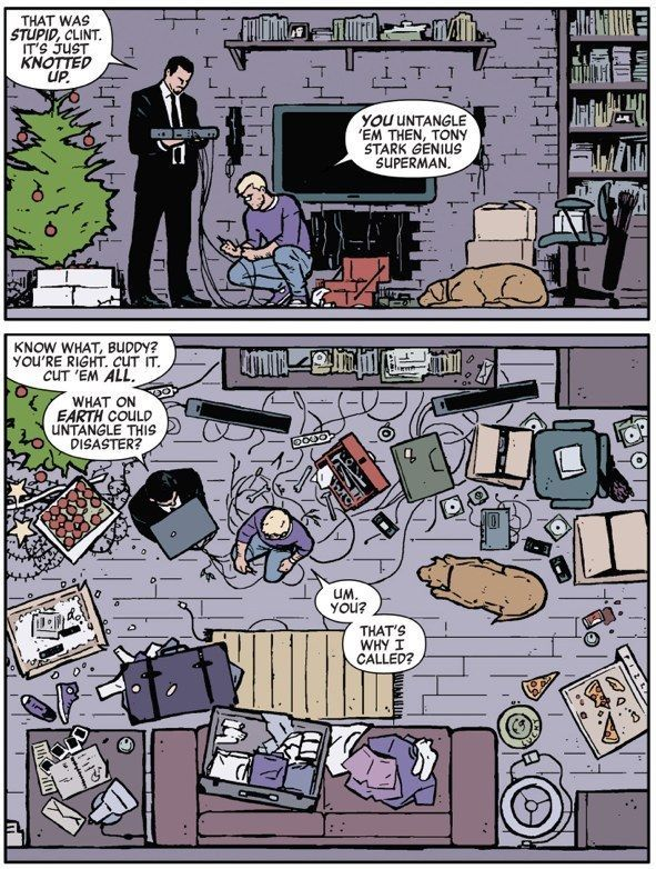 Tony that time he literally came over to Clint's to UNTANGLE HIS DVD PLAYER. | Community Post: 24 Reasons Why You Should Be Reading Matt Fraction's Hawkeye