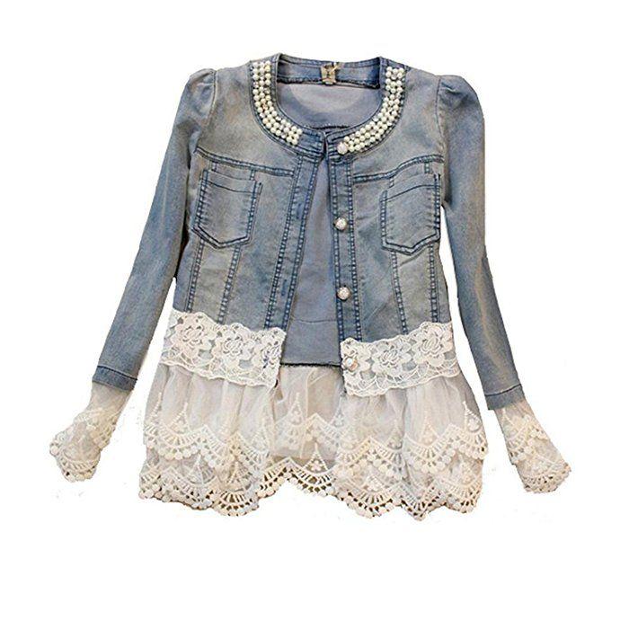 Damen Casual Denim Cute Spitze Short Jeans-Jacke Denim mit Jeansjacke (L, Denim)