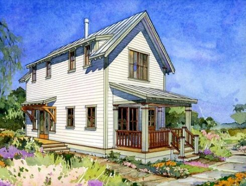 Alder Cottage three, 977 sqf small farm house plans