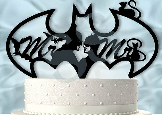 Mr And Mrs Batman And Catwoman Wedding Cake Topper