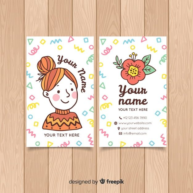Download Hand Drawn Kawaii Character Business Card Template For Free Illustration Business Cards Art Business Cards Cute Business Cards