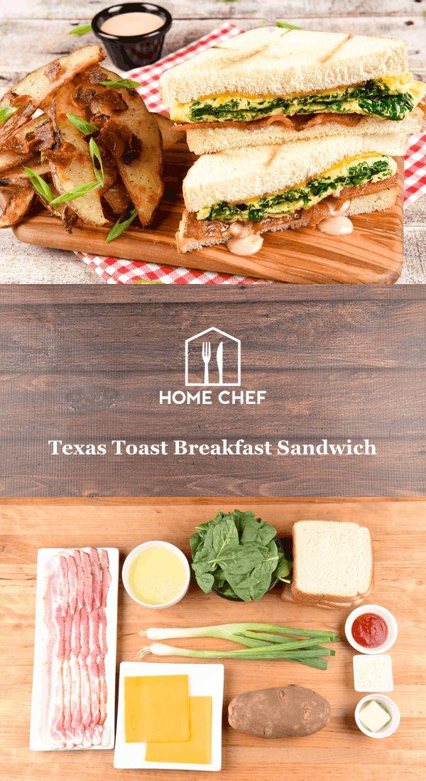 Texas Toast Breakfast Sandwich with bacon steak fries